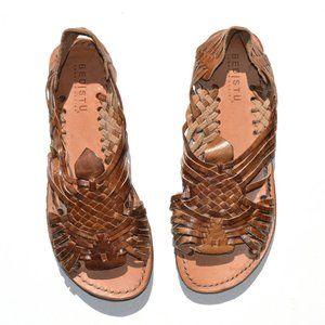 Bed Stu Weaved Leather Sandal Size 8